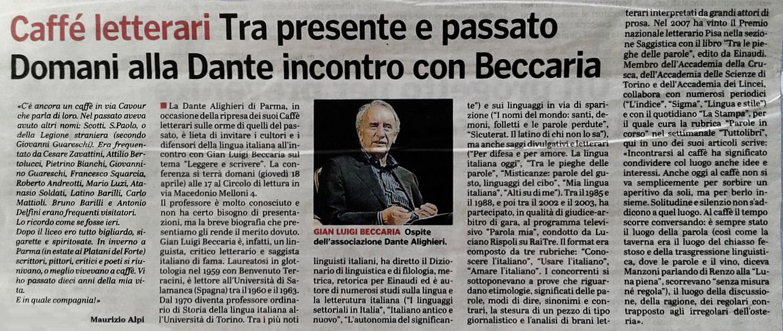 Dalla Gazzetta di Parma del 17 aprile 2019