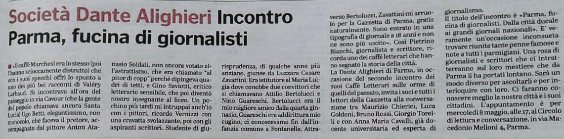 Dalla Gazzetta di Parma del 6 maggio 2019