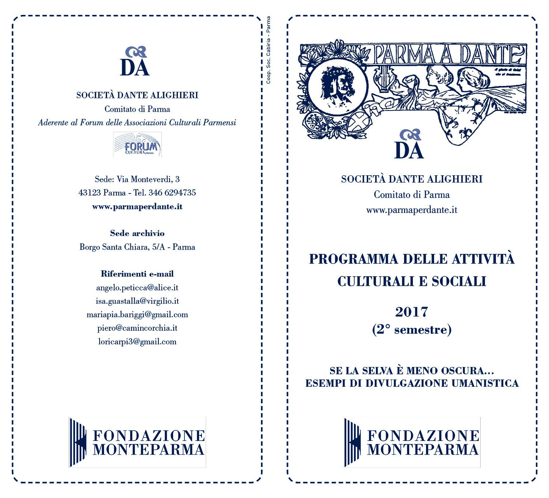 immagine dell'esterno del volantino dei Lunedì della Dante di Parma del II semestre 2017