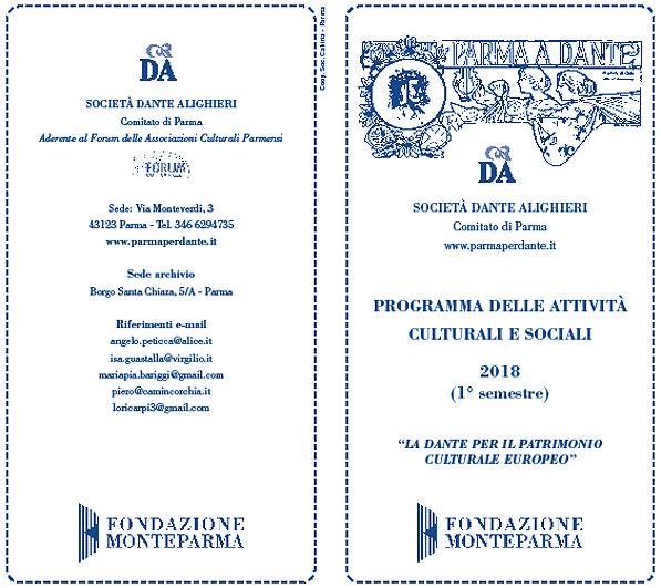 immagine dell'esterno del volantino dei Lunedì della Dante di Parma del I semestre 2018