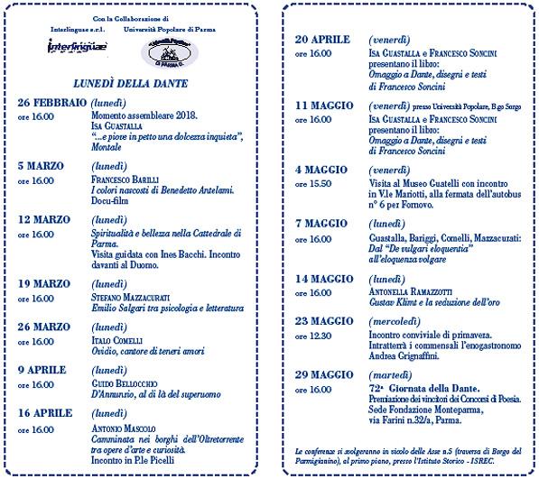 immagine dell'interno del volantino dei Lunedì della Dante di Parma del I semestre 2018