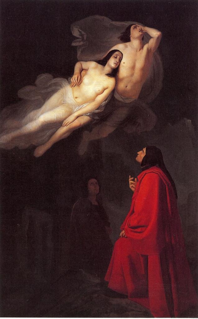Dante e Virgilio nel Canto V dell'Inferno incontrano Paolo e Francesca, olio su tela di Giuseppe Frascheri, 1846, Civica Galleria d'Arte Moderna Savona