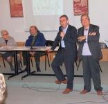La prof.ssa Guastalla, il Soncio, il dott. Ubaldi e il presidente della Dante di Parma dott. Angelo Peticca