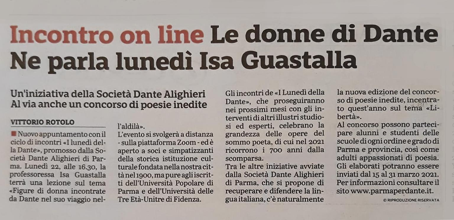 articolo della Gazzetta di Parma del 20 febbraio 2021