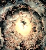 Particolare centrale della cupola del Duomo di Parma, affrescata dal Correggio