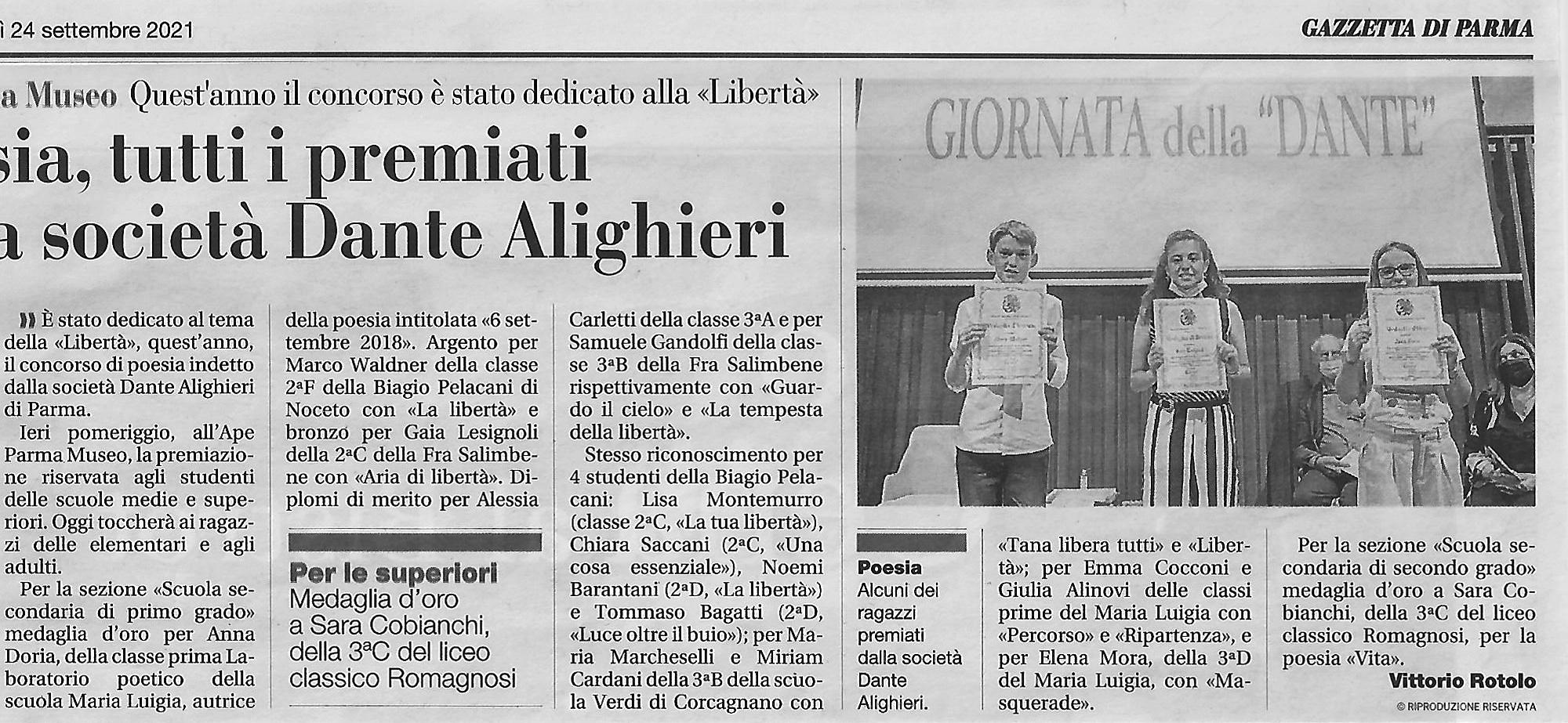 Premiazione del Concorso della Dante di Parma 2020-2021